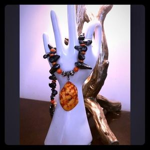 Jewelry - GORGEOUS ORANGE ROCK DROP PENDANT NEXKLACE